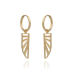 Silver Gold Plate Wings of Freedom Hoop Drop Earrings