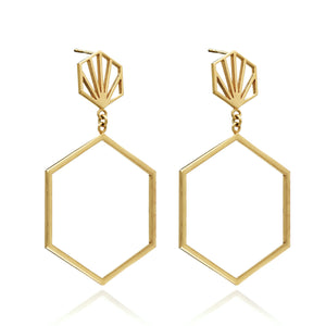 Silver Gold Plate Statement Hexagon Drop Earrings - Andrew Scott