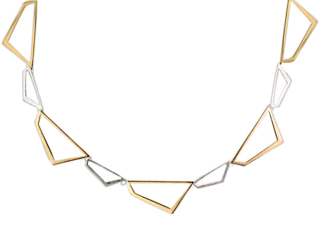 Silver & Yellow Gold Plated Abstract Link Necklace