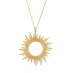 Silver Gold Plate Sunrays Long Necklace