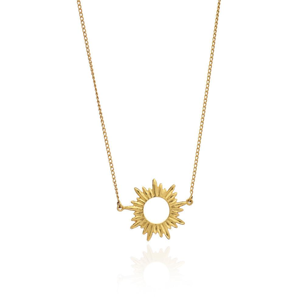 Silver Gold Plate Sunrays Small Necklace