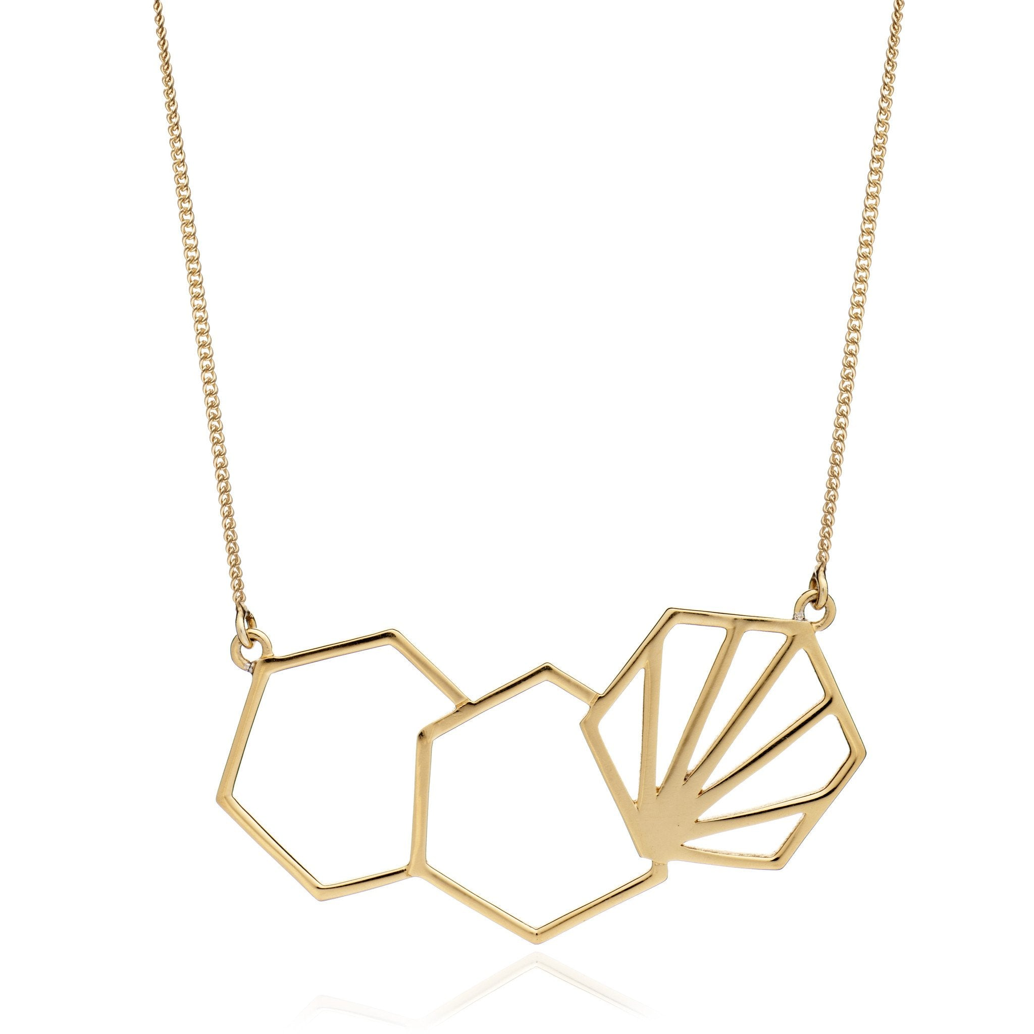 Silver Gold Plate Triple Hexagon Necklace