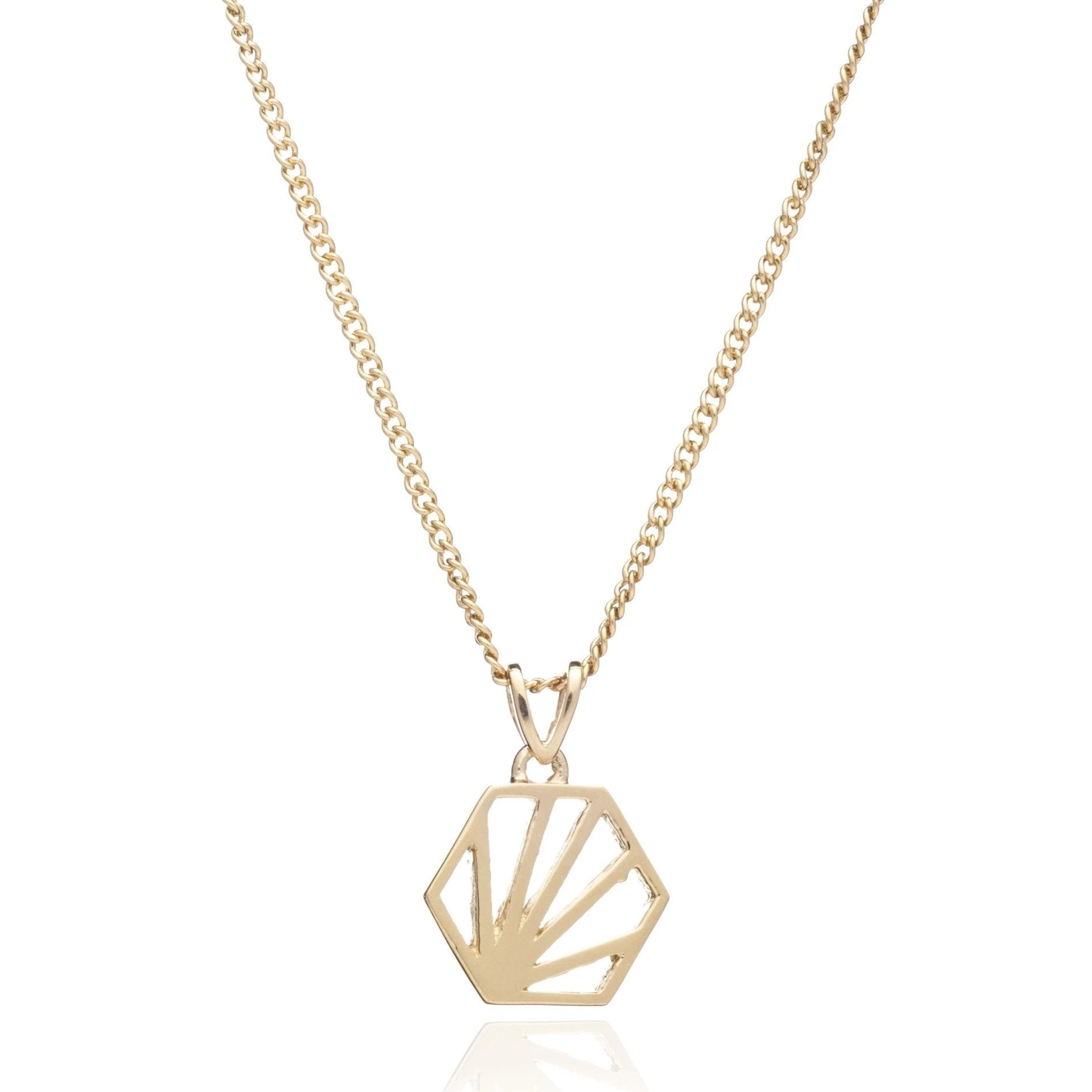Silver Gold Plate Hexagon Necklace