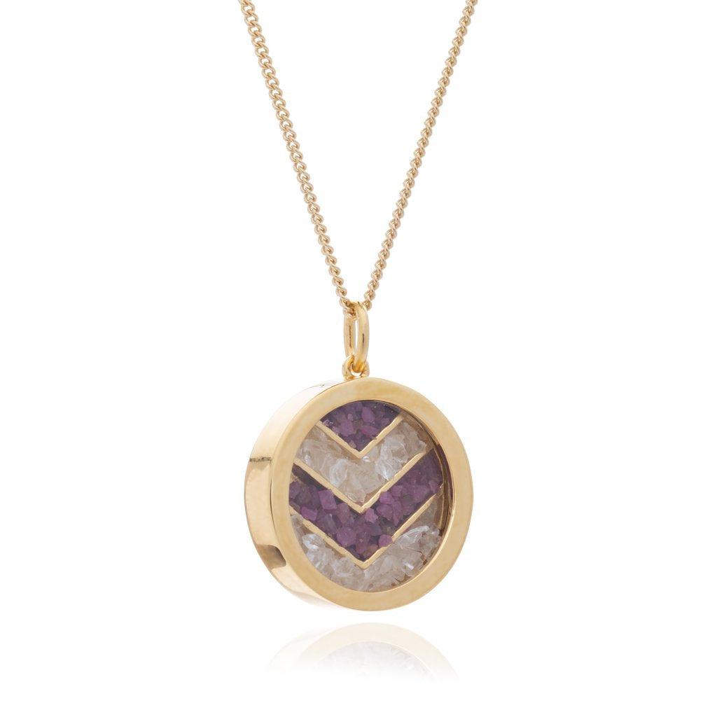 Gold Plated Ruby & Rock Crystal Small Chevron Necklace - Andrew Scott