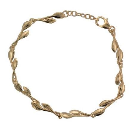 Silver Yellow Gold Plate Fine Multi Leaf Bracelet