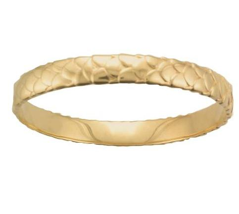 Silver Yellow Gold Plate Scale Pattern Solid Bangle