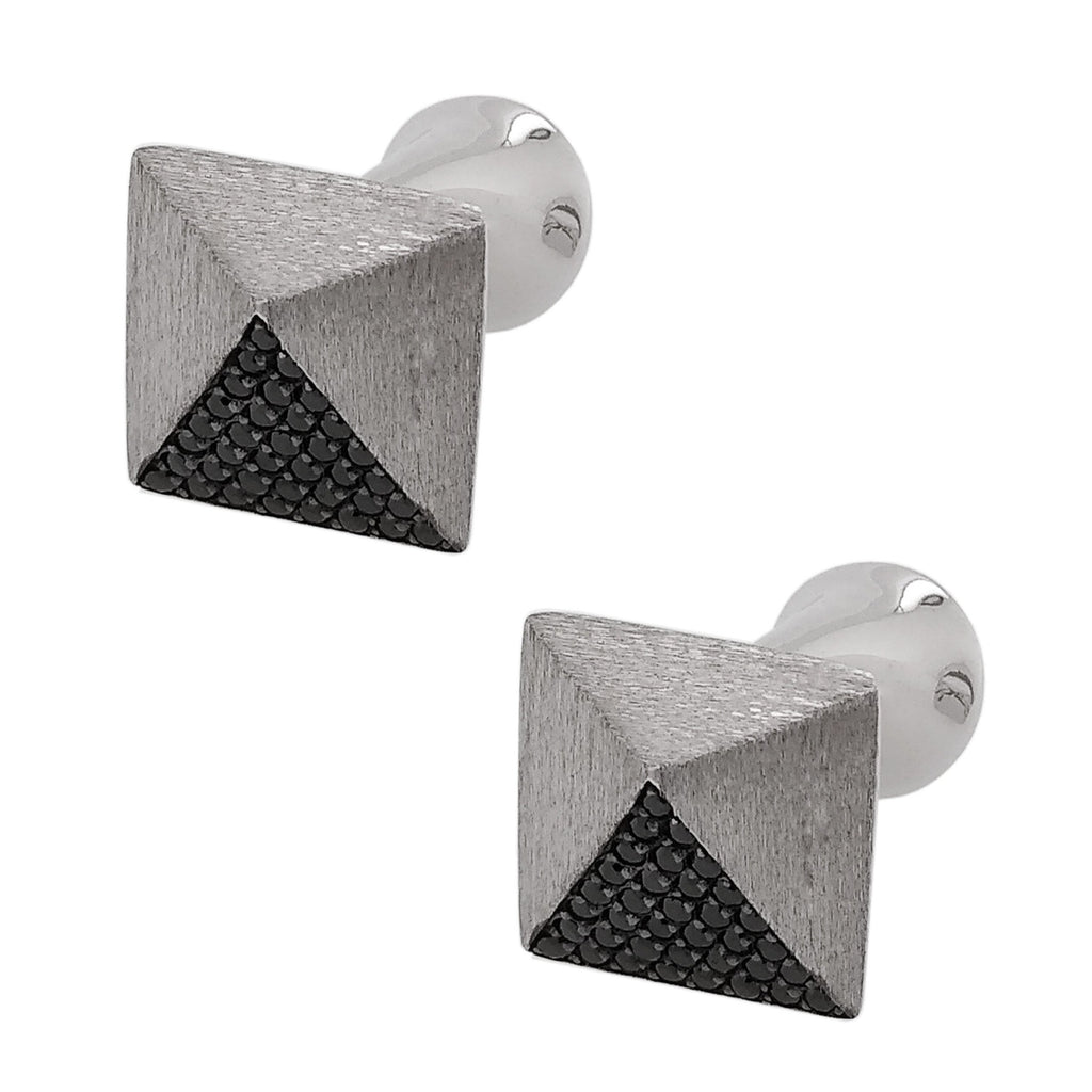 Silver Rhodium Plated Pave-set Black CZ Cufflinks