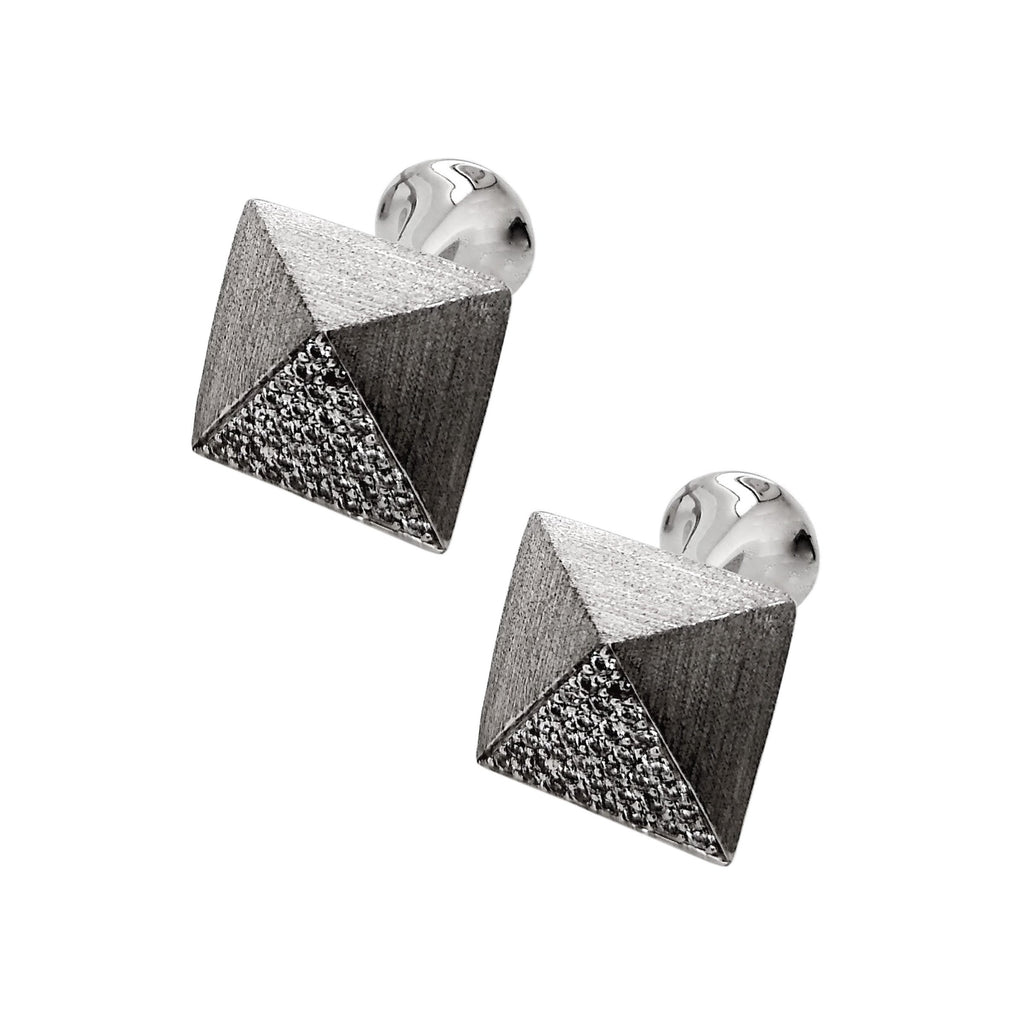 Silver Square Pave-set Cubic Zirconia Cufflinks