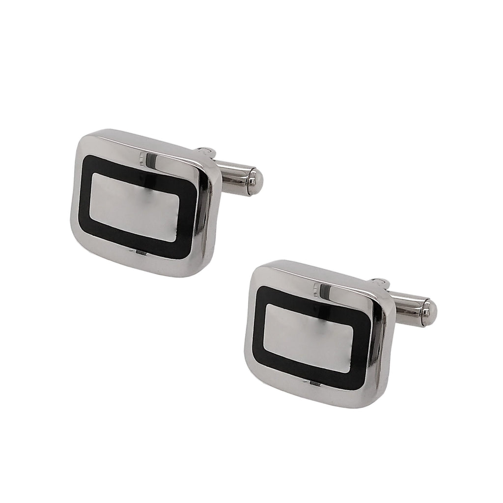 Steel & Black Enamel Soft Rectangle Cufflinks