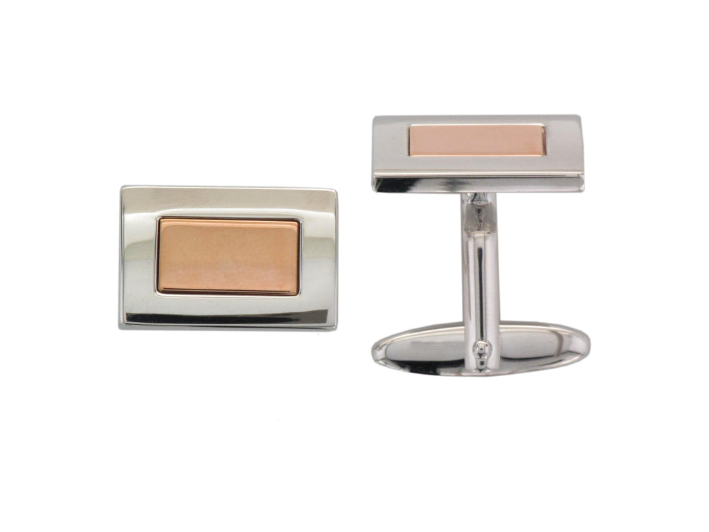 Silver & Rose Plate Rectangle Cufflinks