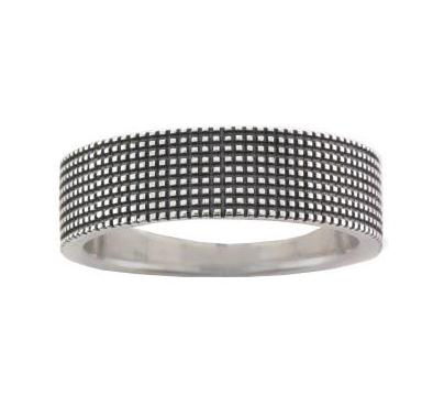 Silver Polished Oxidized Grid Ring