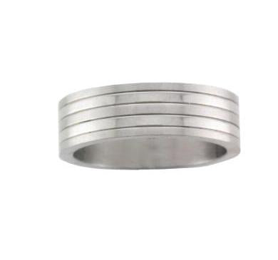 Steel Wide Satin and Polished Stripe Ring