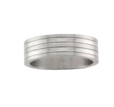 Steel Wide Satin and Polished Stripe Ring - Andrew Scott