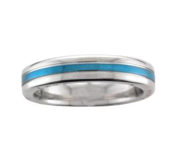 Steel Blue PVD Stripe with 'Love,Peace & Hope' Detail with Cubic Zirconia Ring - Andrew Scott