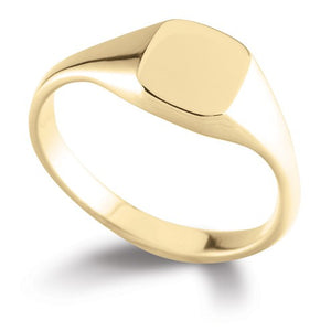 9ct Yellow Gold Light Soft Square Signet Ring - Andrew Scott