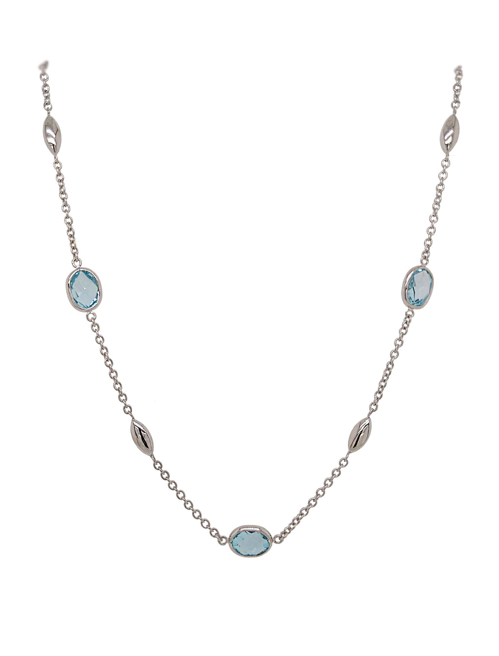 9ct White Gold Blue Topaz & Marquise Bead Necklace
