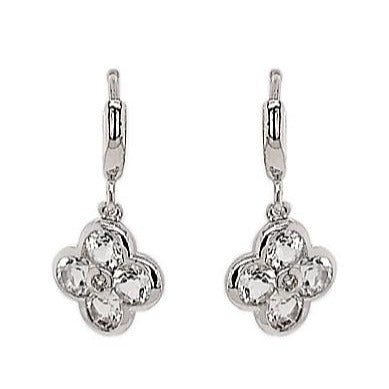 Silver White Topaz Flower Earrings