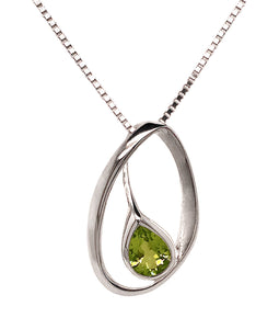 Silver Pear Shape Peridot Offset Sweep Pendant & Chain