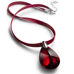 Baccarat Psydelic Silver Red Iridescent Crystal Pendant on Red Ribbon
