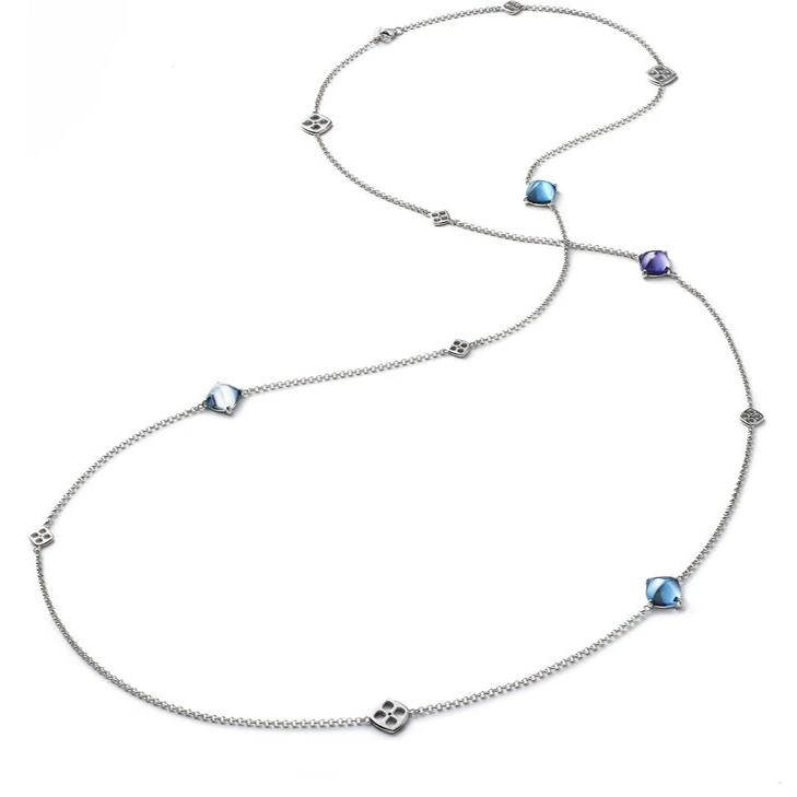 Baccarat Silver Medicis with Aqua, Riviera and Purple Crystal Long Necklace - Andrew Scott