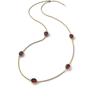 Silver Vermeil Croise Red crystal Long Necklace - Andrew Scott