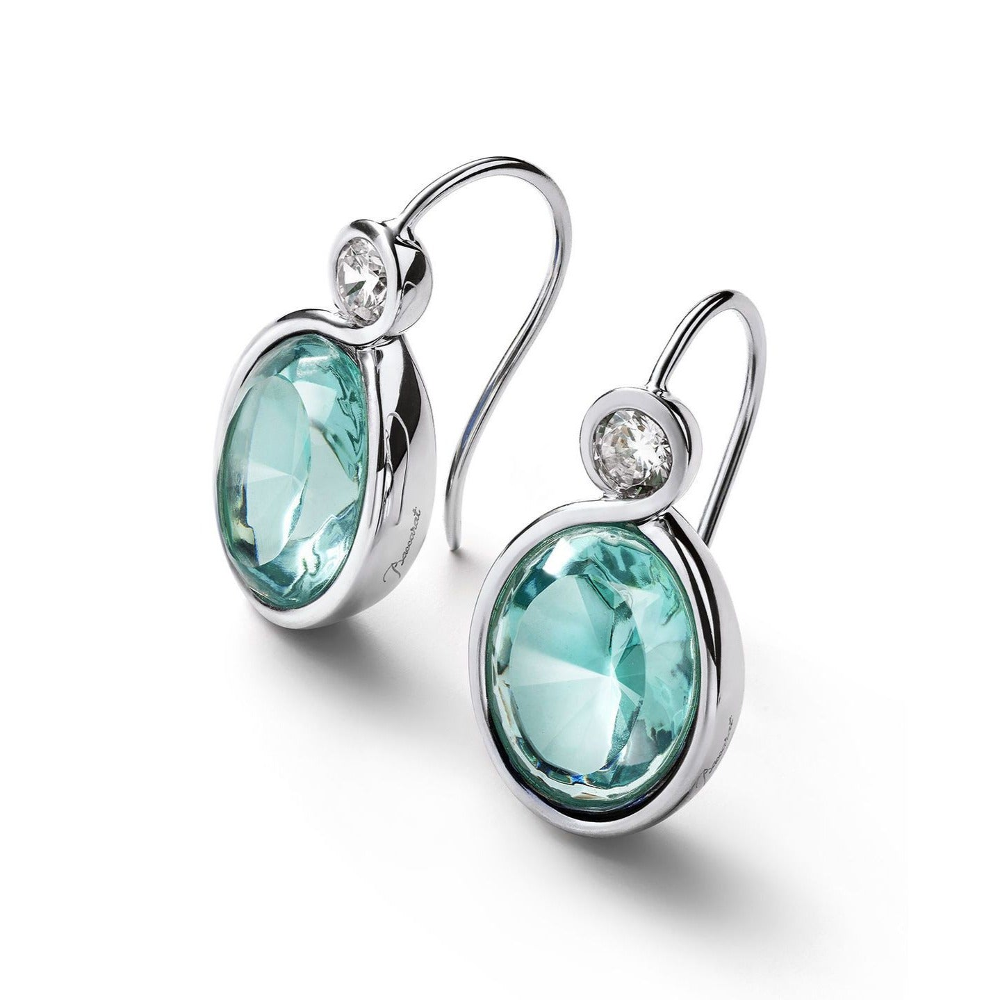 Silver Croise Turquoise Crystal Earrings