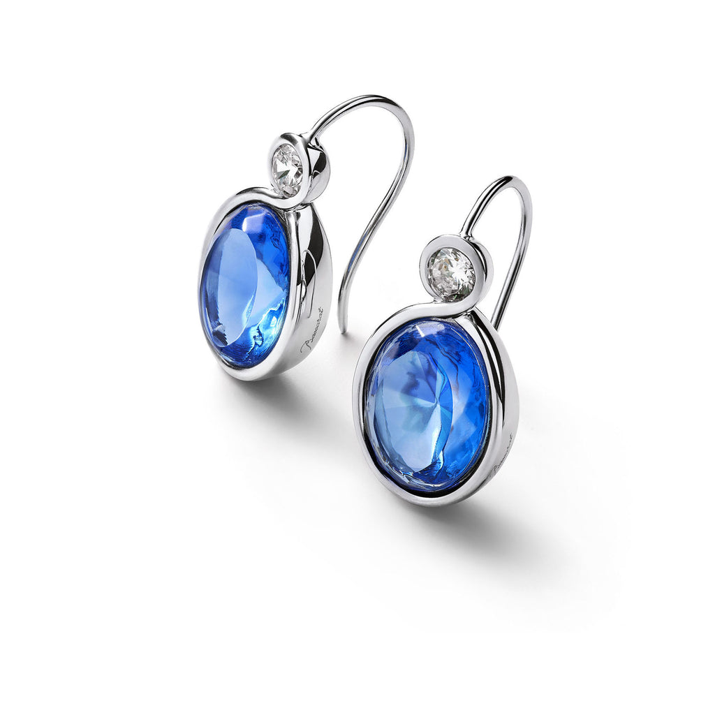 Silver Croise Blue Crystal Earrings - Andrew Scott
