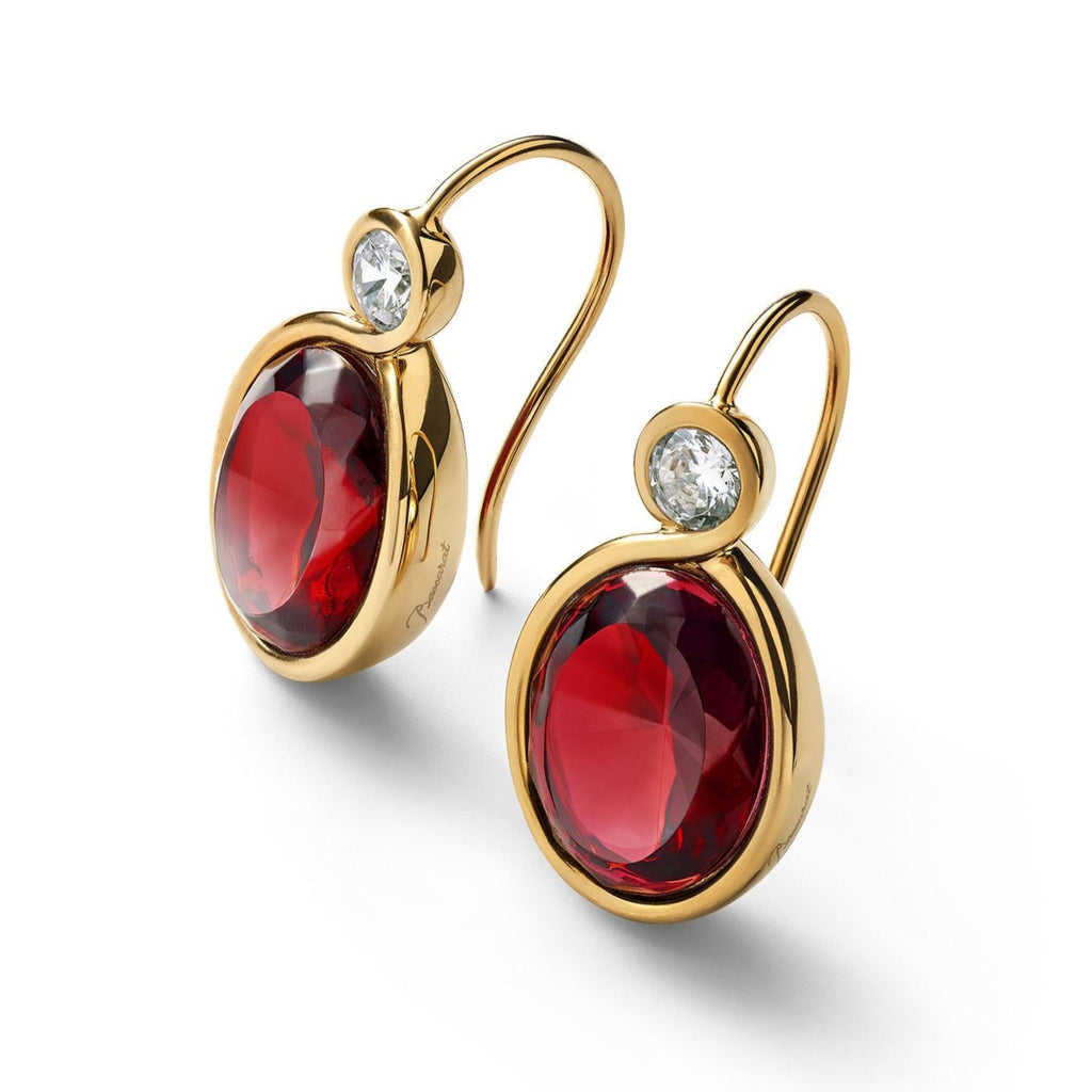 Sivler Vermeil Croise Red Crystal Earrings