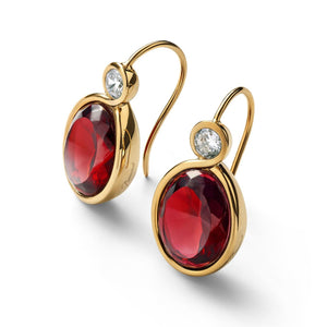 Sivler Vermeil Croise Red Crystal Earrings - Andrew Scott