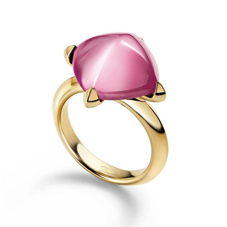 Baccarat Medicis Yellow Gold Vermeil Pink Mirror Crystal Ring - Andrew Scott