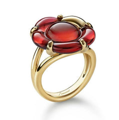 Baccarat B Flower Gold Vermeil Red Crystal Ring