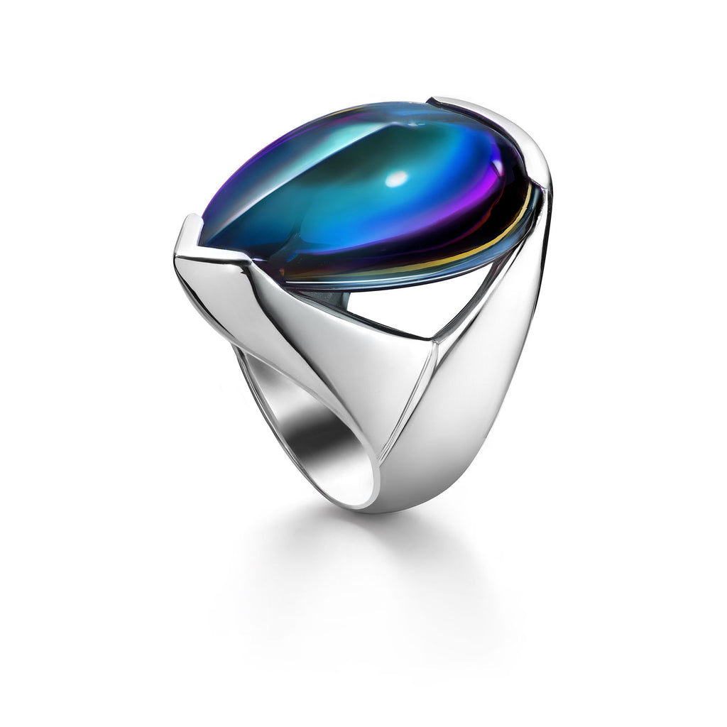 Baccarat Silver Psydelic Scarabee Blue Ring - Andrew Scott