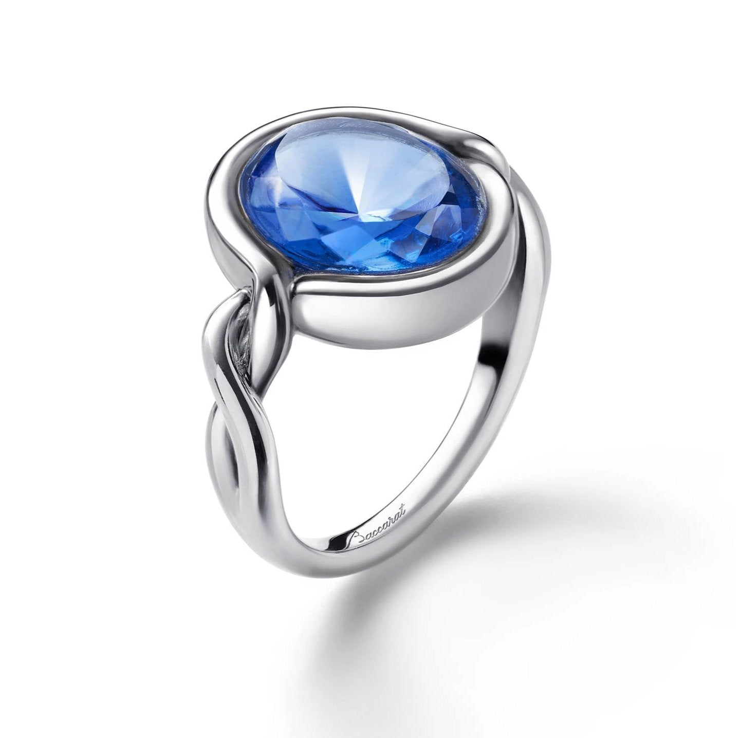 Silver Croise Blue Crystal Ring