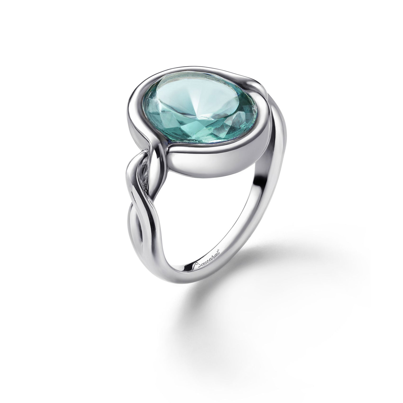 Silver Croise Turquoise Crystal Ring