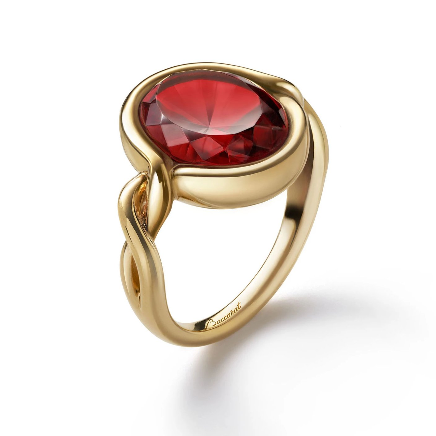 Silver Vermeil Croise Red Crystal Ring