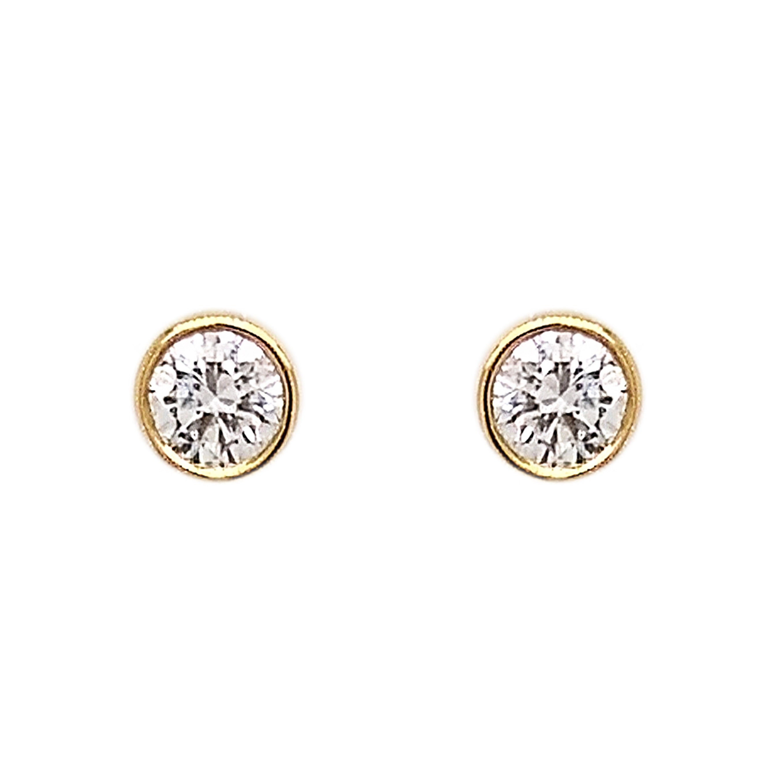 18ct Yellow Gold Cabochon Set Diamond Stud Earrings
