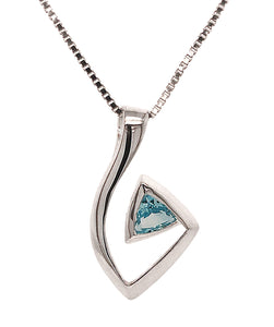 Silver Trillion Blue Topaz Abstract Pendant & Chain