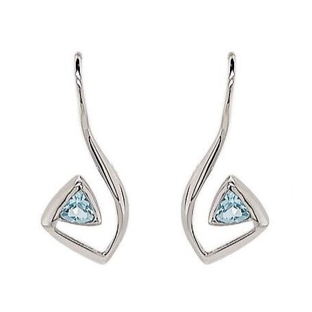 Silver Trillion Blue Topaz Abstract Earrings