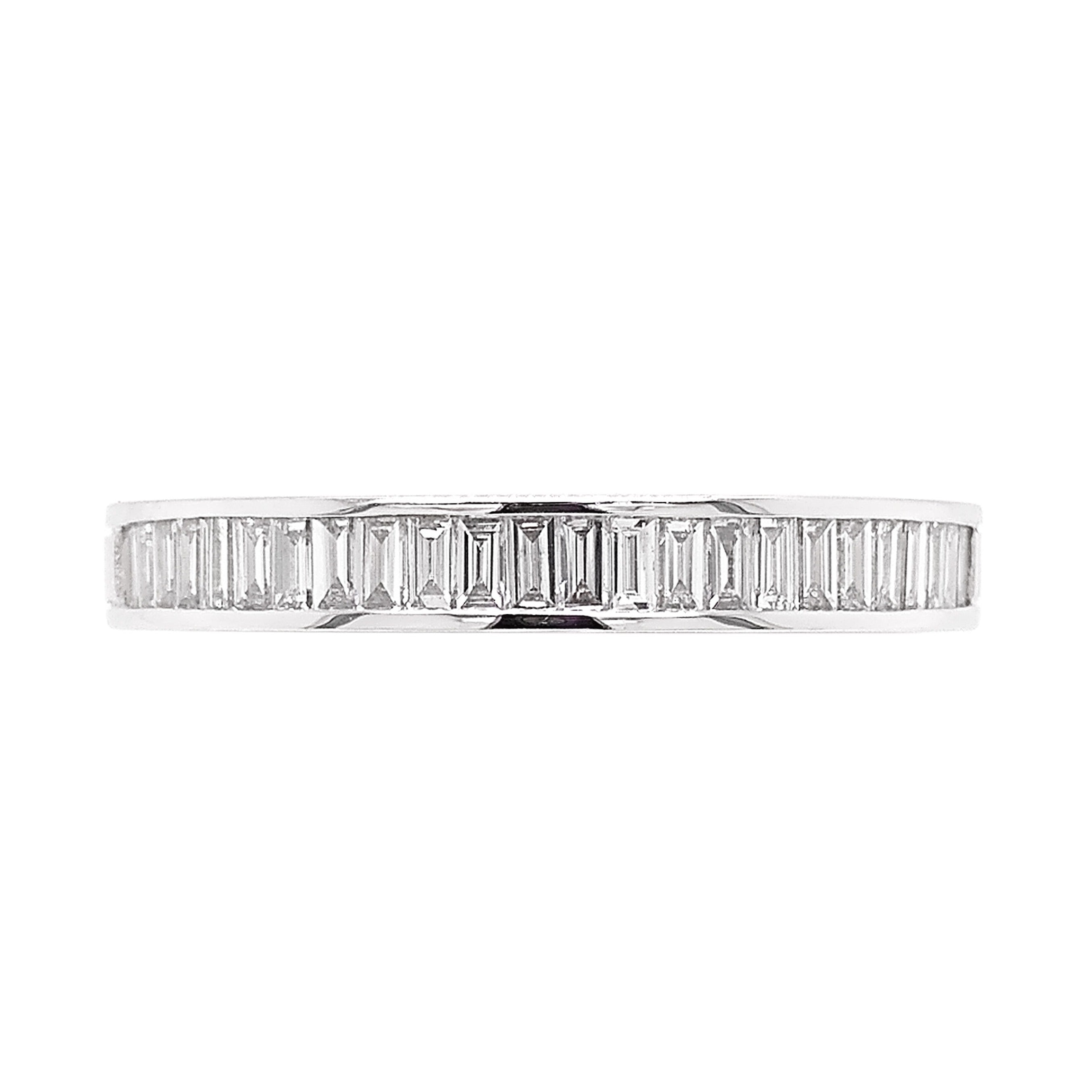 Platinum Baguette Diamond Half Eternity Ring