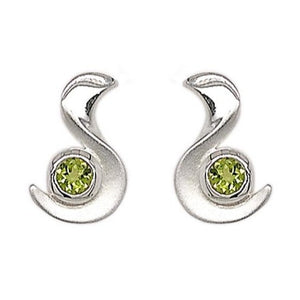 Silver Round Peridot Swiggle Earrings
