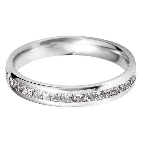 18ct White Gold Off-set Full Diamond Eternity Ring - Andrew Scott
