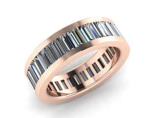 18ct Rose Gold Baguette-cut Diamond Full Eternity Ring - Andrew Scott