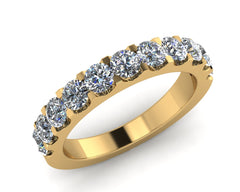 18ct Yellow Gold Brilliant-cut Diamond Half Eternity Ring 1.10ct F/VS Certed