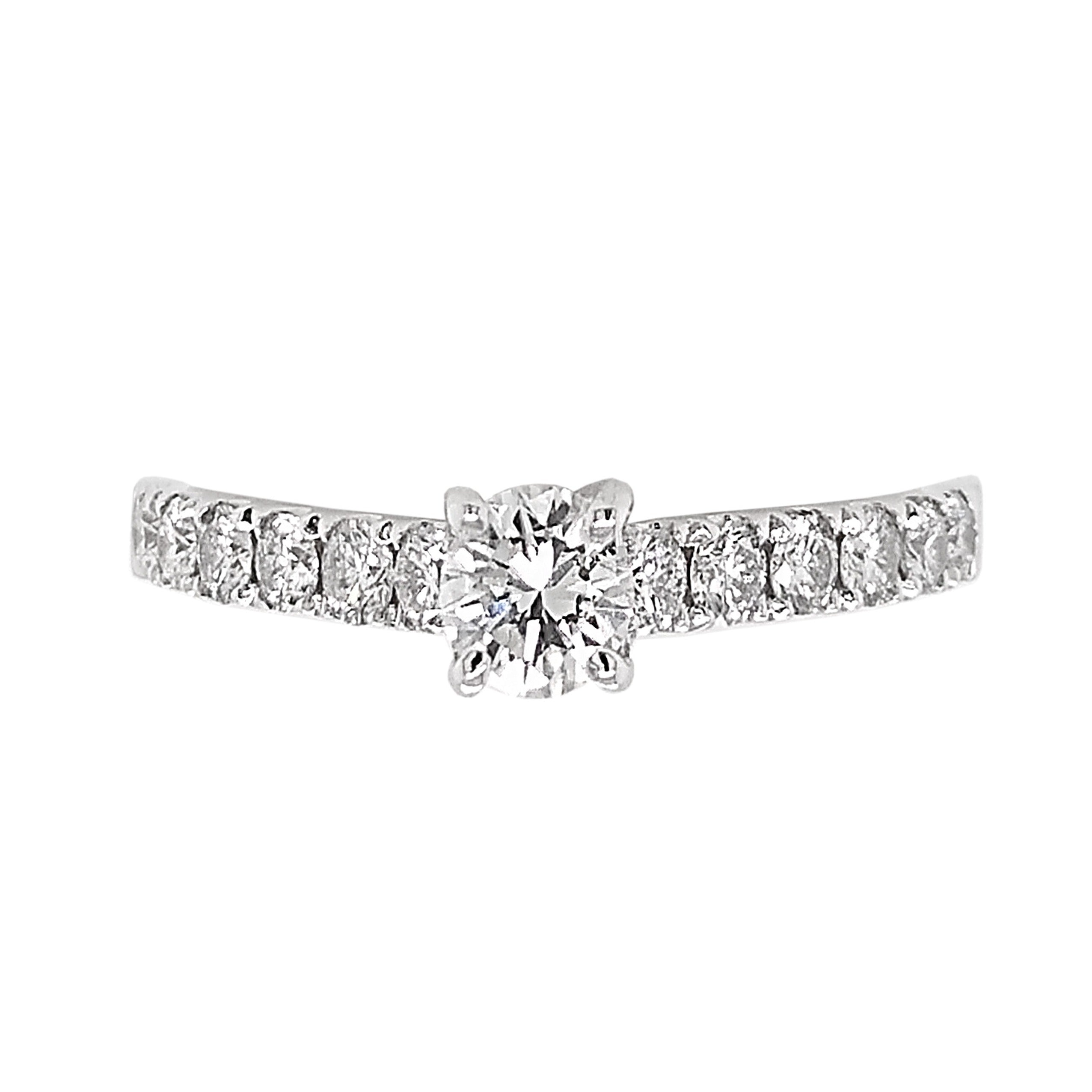 18ct White Gold Diamond Centre & Diamond Shoulder Ring