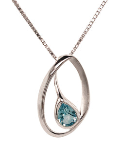 Silver Pear Shape Blue Topaz Offset Sweep Pendant & Chain