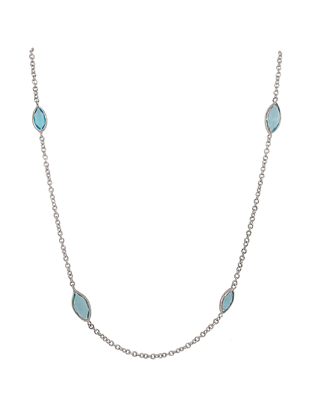 9ct White Gold Marquise Blue Topaz Necklace
