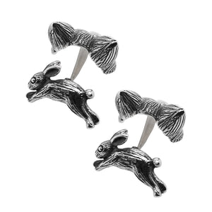 Silver Oxidised Fox & Hare Cufflinks