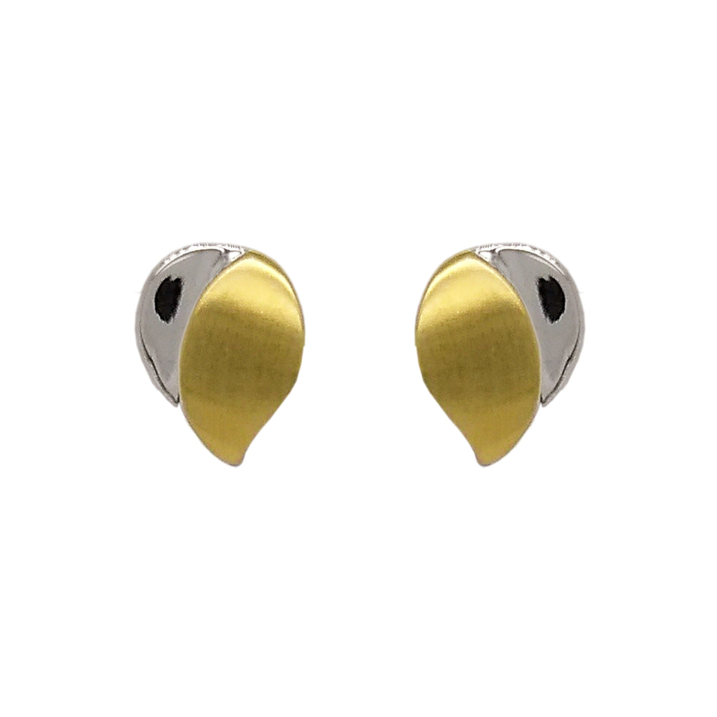 9ct Yellow & White Sail Stud Earrings