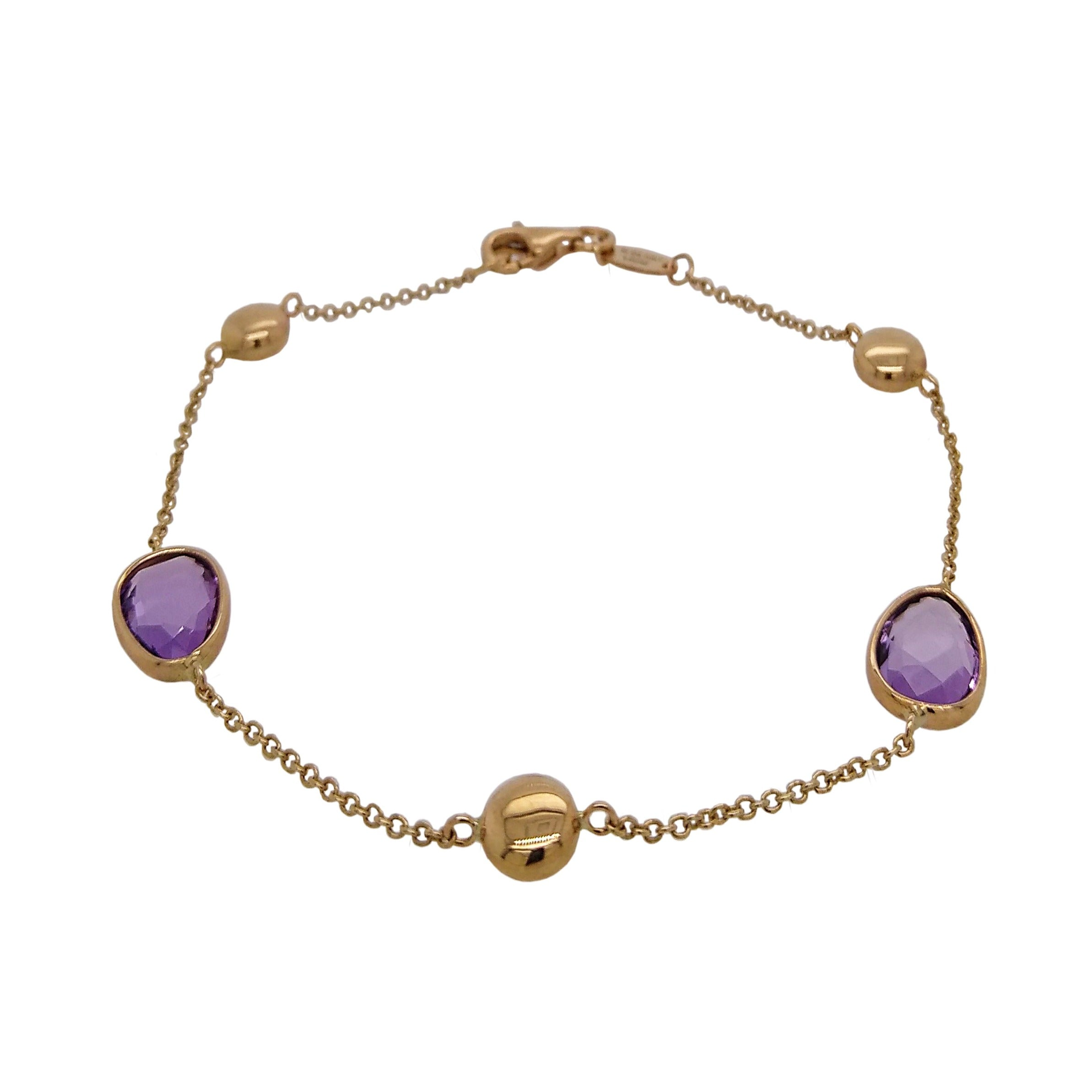 9ct Yellow Gold Amethyst & Bead Bracelet