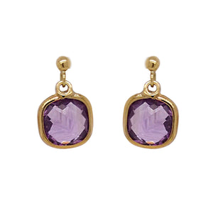9ct Yellow Gold Cushion Amethyst Drop Earrings
